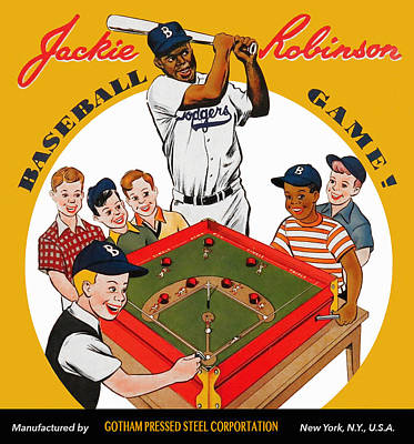 Jackie Robinson Vintage Baseball Game Art Print by Big 88 Artworks