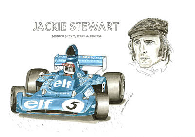 Formula One Drawing - Jackie Stewart On Tyrrell by David Selucky