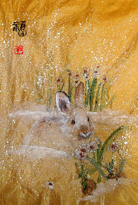 Art Print featuring the painting Jackies New Year Rabbit by Debbi Saccomanno Chan