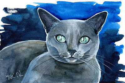Painting - Jackpot - Russian Blue Cat Painting by Dora Hathazi Mendes