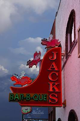 Que Photograph - Jacks Bar -b-que Sign  by Art Spectrum