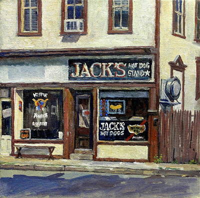 Abstract Realist Landscape Painting - Jack's Hot Dogs North Adams by Thor Wickstrom