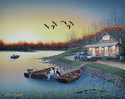 Dog In Lake Painting - Jack's Place by Don Engler