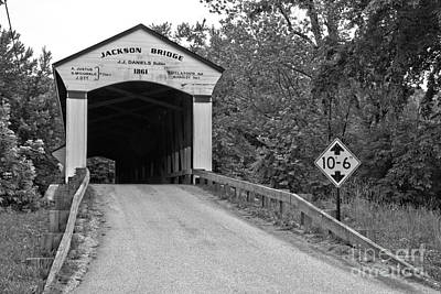 Photograph - Jackson Covered Bridge Black And White by Adam Jewell