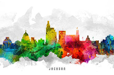 Mississippi Digital Art - Jackson Mississippi Cityscape 12 by Aged Pixel