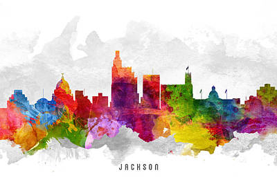 Mississippi Digital Art - Jackson Mississippi Cityscape 13 by Aged Pixel