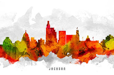 Mississippi Digital Art - Jackson Mississippi Cityscape 15 by Aged Pixel