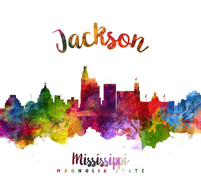 Movies Star Paintings - Jackson Mississippi Skyline 23 by Aged Pixel