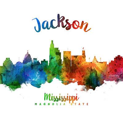 Jackson Mississippi Skyline 25 Art Print by Aged Pixel