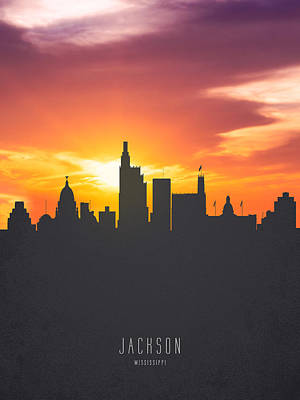 Jackson Mississippi Sunset Skyline 01 Art Print by Aged Pixel