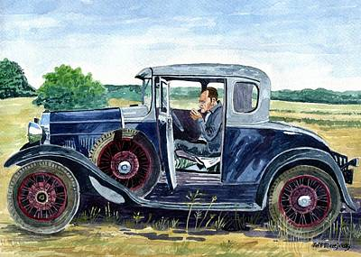 Pollack Painting - Jackson Pollack In His Model A Ford by Jeff Blazejovsky
