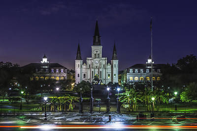 Photograph - Jackson Square And St. Louis Cathedral At Dawn, New Orleans, Louisiana by Chris Coffee