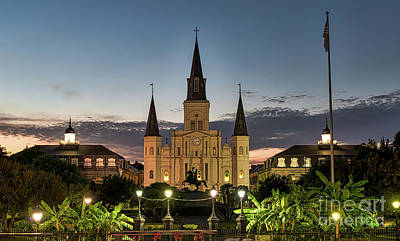American Landmarks Photograph - Jackson Square At Dusk by Tod and Cynthia Grubbs