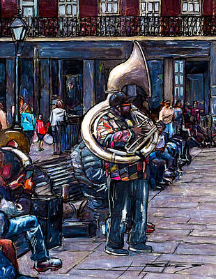 Pat O Briens Painting - Jackson Square Bass Horn Player by John Boles