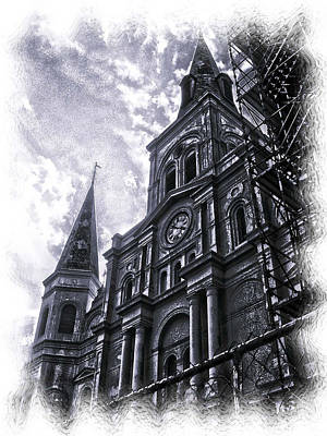 Jackson Square Cathedral Art Print by Linda Kish