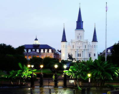 Photograph - Jackson Square Glistening At Dawn by Walter E Koopmann