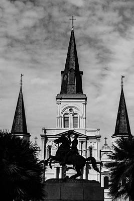 Digital Art - Jackson Square - Monochrome by Printed Pixels