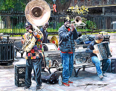 Garden District Painting - Jackson Square Musicians by John Boles