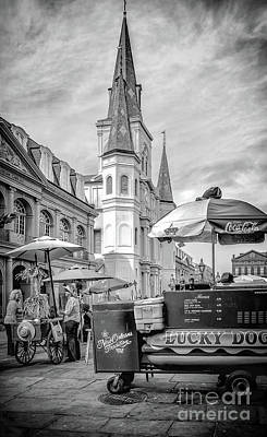 Lucky Dogs Wall Art - Photograph - Jackson Square Scene New Orleans - Bw  by Kathleen K Parker