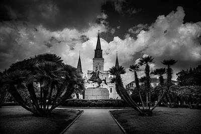 Morning Photograph - Jackson Square Sunrise In Black And White by Chrystal Mimbs