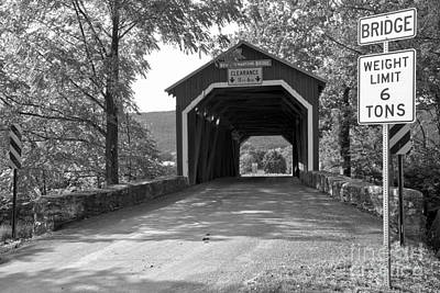 Photograph - Jackson Township Covered Bridge Black And White by Adam Jewell