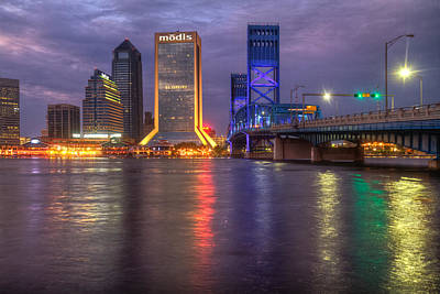 Jacksonville At Dusk Print by Debra and Dave Vanderlaan
