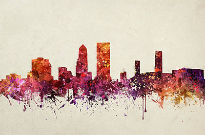 Watercolour Drawing - Jacksonville Cityscape 09 by Aged Pixel