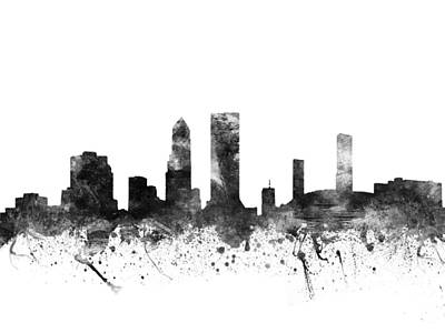 Jacksonville Florida Cityscape 02bw Art Print by Aged Pixel