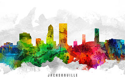 Jacksonville Florida Cityscape 12 Art Print by Aged Pixel