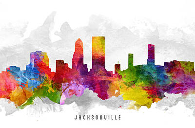 Jacksonville Florida Cityscape 13 Art Print by Aged Pixel