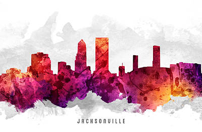 Jacksonville Florida Cityscape 14 Art Print by Aged Pixel