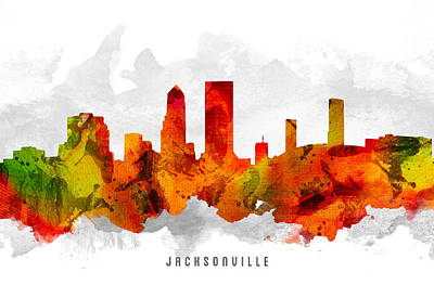 Jacksonville Florida Cityscape 15 Art Print by Aged Pixel