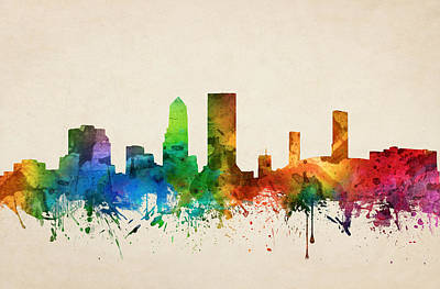 Towns Digital Art - Jacksonville Florida Skyline 05 by Aged Pixel