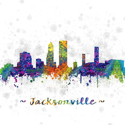 Jacksonville Florida Skyline Color 03sq Art Print by Aged Pixel