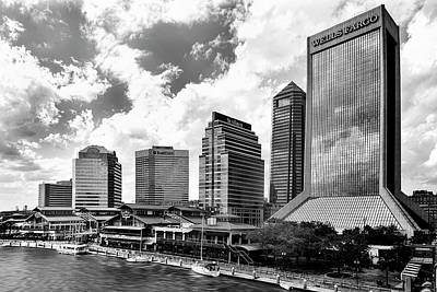 Photograph - Jacksonville, Florida Skyline In Black And White by Kay Brewer