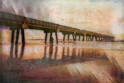 Photograph - Jacksonville Pier At Sunrise Textured Painting by Debra and Dave Vanderlaan