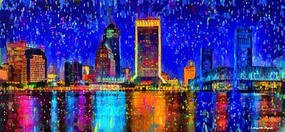 Saint Painting - Jacksonville Skyline 100 - Pa by Leonardo Digenio
