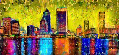 Towers Digital Art - Jacksonville Skyline 101 - Da by Leonardo Digenio