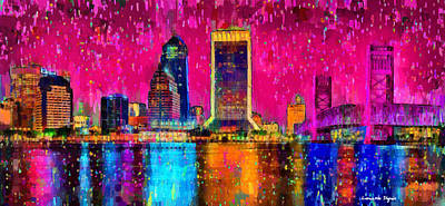 Landscape Digital Art - Jacksonville Skyline 102 - Da by Leonardo Digenio