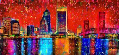 Towers Painting - Jacksonville Skyline 103 - Pa by Leonardo Digenio