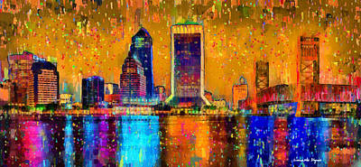 Surrealism Royalty Free Images - Jacksonville Skyline 104 - PA Royalty-Free Image by Leonardo Digenio