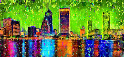Black Digital Art - Jacksonville Skyline 105 - Da by Leonardo Digenio