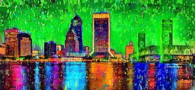 Jacksonville Skyline 106 - Da Art Print