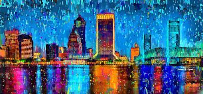 Elements Digital Art - Jacksonville Skyline 107 - Da by Leonardo Digenio