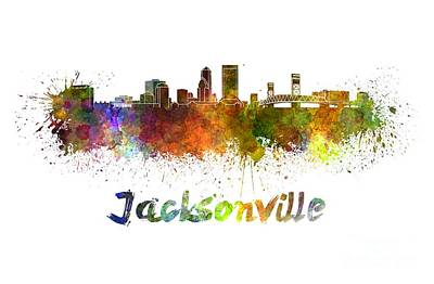 Jacksonville Skyline In Watercolor Art Print by Pablo Romero