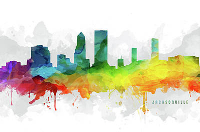 Florida Digital Art - Jacksonville Skyline Mmr-usflja05 by Aged Pixel