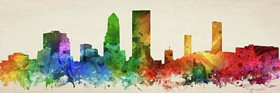 Jacksonville Florida Digital Art - Jacksonville Skyline Panorama Usflja-pa03 by Aged Pixel