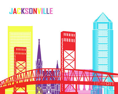 Jacksonville Skyline Pop Art Print by Pablo Romero