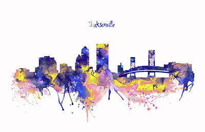 City Map Mixed Media - Jacksonville Skyline Silhouette by Marian Voicu