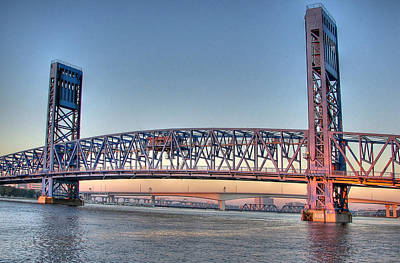 Jacksonville's Blue Bridge At Sunrise Art Print by Farol Tomson